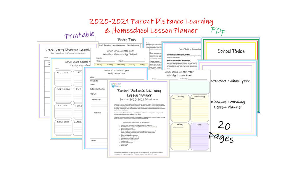 2020-21 distance learning parent lesson planner