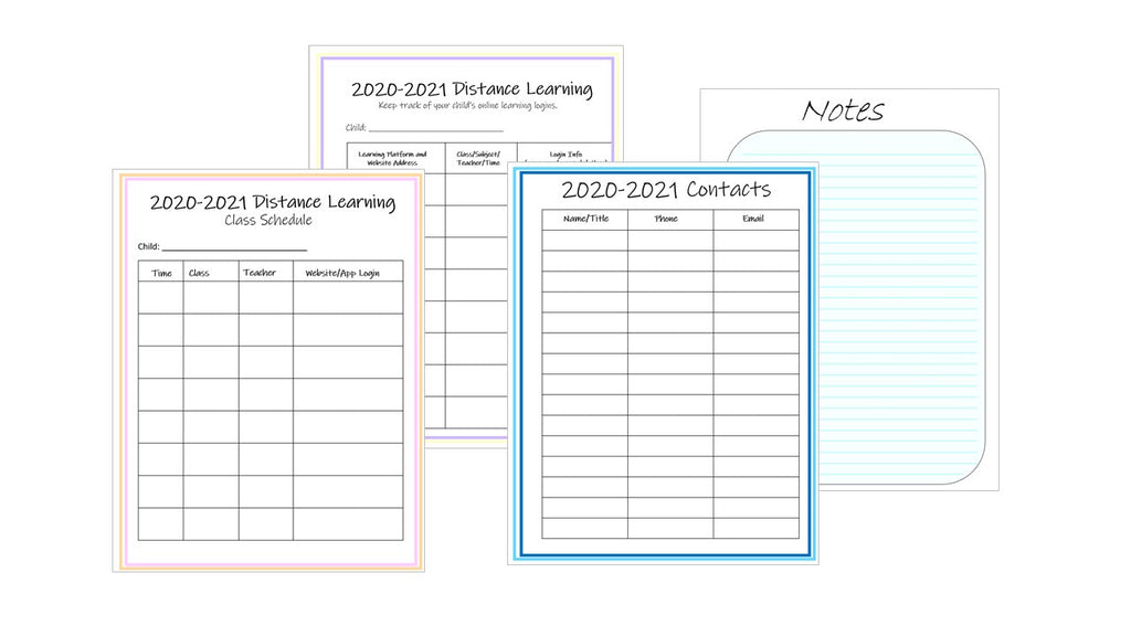 parent home learning planner
