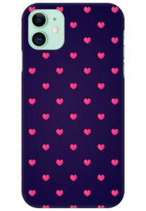 Voilet Case With Pink Hearts Printed Case Available For 650+Phone Models