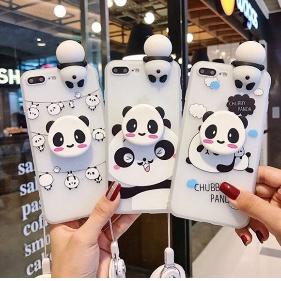 Panda Printed Case With Toy And Grip Available For 650+ Phone Models