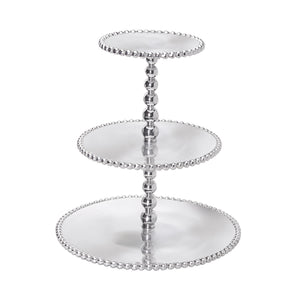 Pearled 3-Tiered Cupcake Server | Mariposa Serving Trays and More