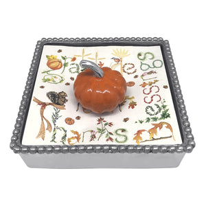 Orange Pumpkin Beaded Napkin Box-Napkin Boxes and Weights | Mariposa