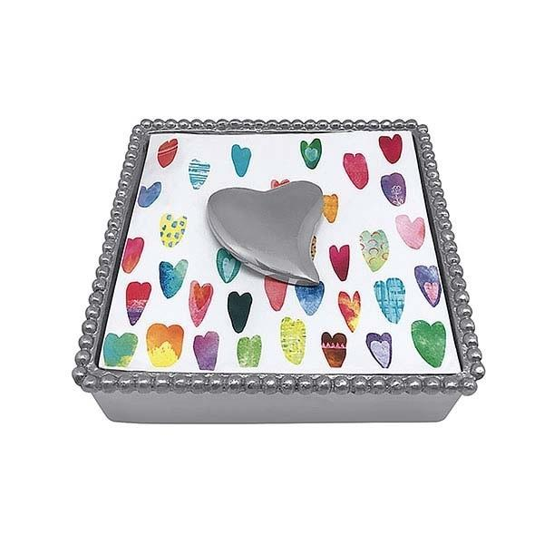 Heart Beaded Napkin Box | Mariposa
