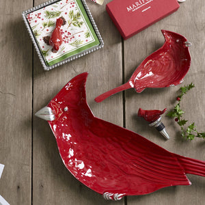 Red Cardinal Beaded Napkin Box-Napkin Boxes and Weights-|-Mariposa