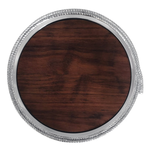 Rope Round Cheese Board with Dark Wood Insert | Mariposa