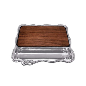 Rope Cheese Board, Dark Wood-Serving Trays and More-|-Mariposa