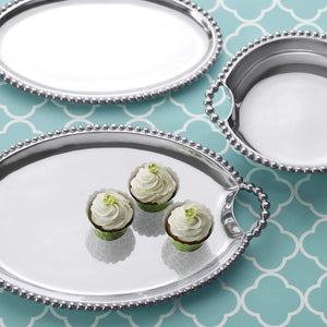 Pearled Round Handle Tray-Serving Trays and More-|-Mariposa