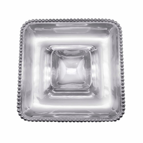 Pearled Square Chip & Dip | Mariposa Serving Trays and More