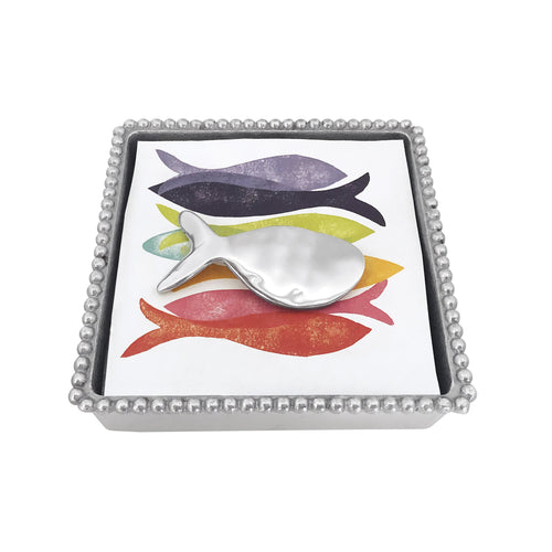 Shimmer Fish Beaded Napkin Box | Mariposa