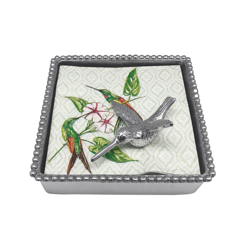 Hummingbird Beaded Napkin Box | Mariposa Napkin Boxes and Weights