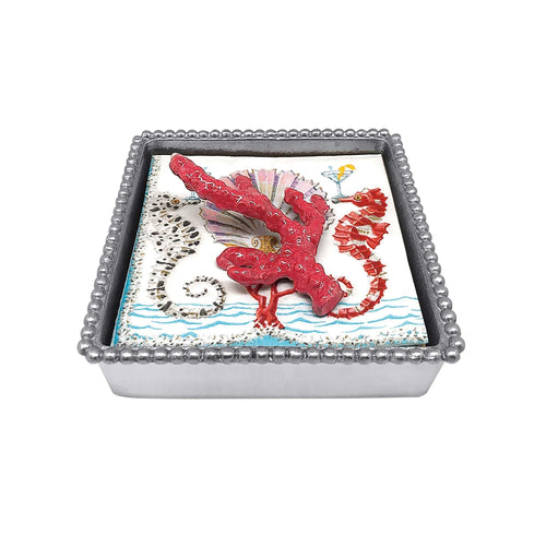 Red Coral Beaded Napkin Box | Mariposa