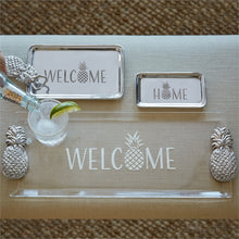 Load image into Gallery viewer, Welcome Pineapple Handled Tray Acrylic-Serving Trays and More-|-Mariposa