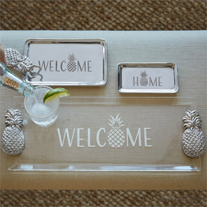 Welcome Pineapple Handled Tray Acrylic-Serving Trays and More-|-Mariposa