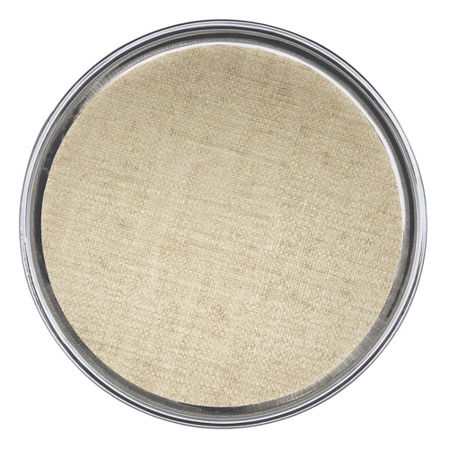 Signature Round Metal Tray with Sand Faux Grasscloth Insert | Mariposa