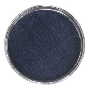 Signature Round Metal Tray with Indigo Blue Faux Grasscloth Insert | Mariposa