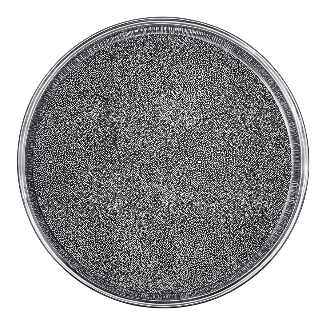 Signature Round Metal Tray with Shagreen Insert | Mariposa