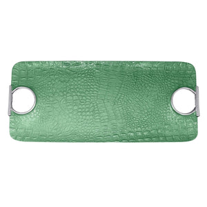 Croc Rectangular Green Handled Tray | Mariposa Serving Trays and More
