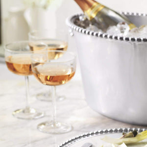 Pearled Medium Ice Bucket-Barware-|-Mariposa