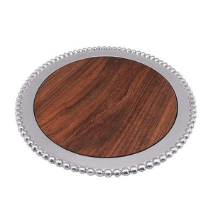 Pearled Round Cheese Board, Dark Wood-Serving Trays and More-|-Mariposa