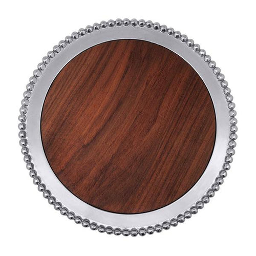Pearled Round Cheese Board, Dark Wood | Mariposa Serving Trays and More