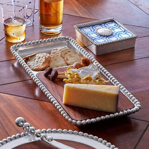 Pearled Cheese & Cracker Server, Dark Wood-Serving Trays and More-|-Mariposa