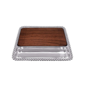 Pearled Cheese Board, Dark Wood-Serving Trays and More-|-Mariposa
