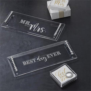 MR. & MRS. Pearled Acrylic Tray
