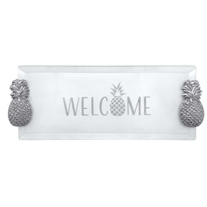 Welcome Pineapple Handled Tray Acrylic | Mariposa Serving Trays and More