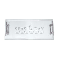Load image into Gallery viewer, Seas The Day Boat Cleat Handled Acrylic Tray | Mariposa Serving Trays and More