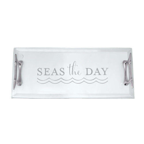 Seas The Day Boat Cleat Handled Acrylic Tray | Mariposa Serving Trays and More