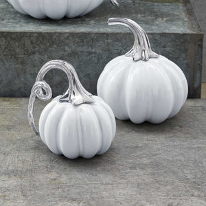 Ceramic Heirloom Small Pumpkin with Metal Stem-Decorative Accessories | Mariposa
