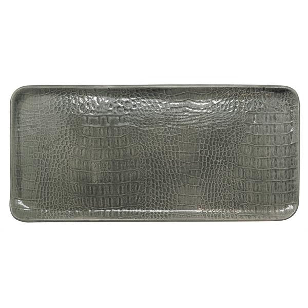 Gray Crocodile Ceramic Rectangular Platter | Mariposa