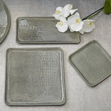 Load image into Gallery viewer, Gray Crocodile Ceramic Rectangular Platter-Platters-|-Mariposa