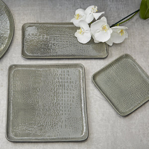 Gray Crocodile Ceramic Rectangular Platter-Platters-|-Mariposa