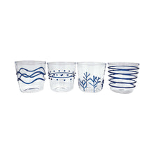 Load image into Gallery viewer, Blue Appliqué Double Old Fashion Glass Suite | Mariposa Glassware