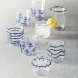 Blue Appliqué Double Old Fashion Glass Suite-Glassware-|-Mariposa