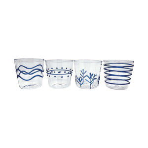 Blue Appliqué Double Old Fashion Glass Suite | Mariposa Glassware