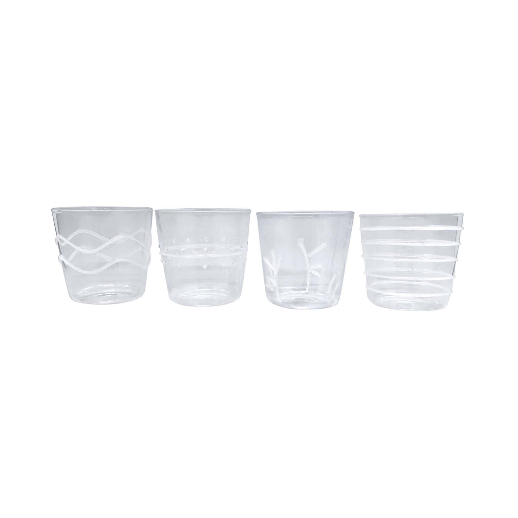 White Appliqué Double Old Fashion Glass Suite | Mariposa Glassware