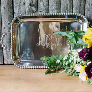 Pearled Service Tray-Serving Trays and More-|-Mariposa