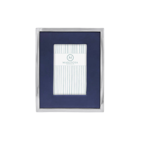 Blue Leather with Metal Border 4x6 Frame | Mariposa