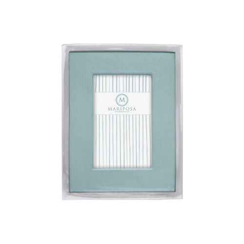 Teal Leather with Metal Border 4x6 Frame | Mariposa