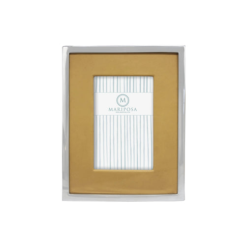 Honeycomb Leather with Metal Border 4x6 Frame | Mariposa