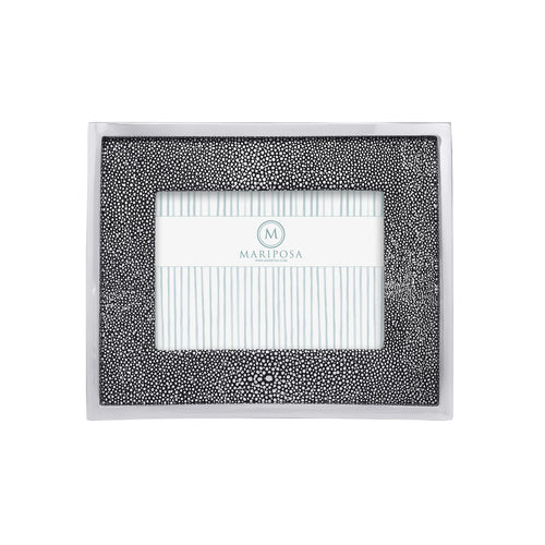 Shagreen Leather with Metal Border 5x7 Frame | Mariposa