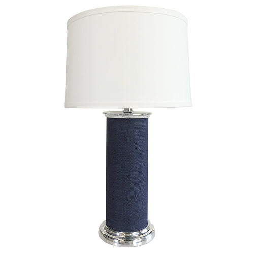 Indigo Blue Faux Grasscloth Column Table Lamp | Mariposa