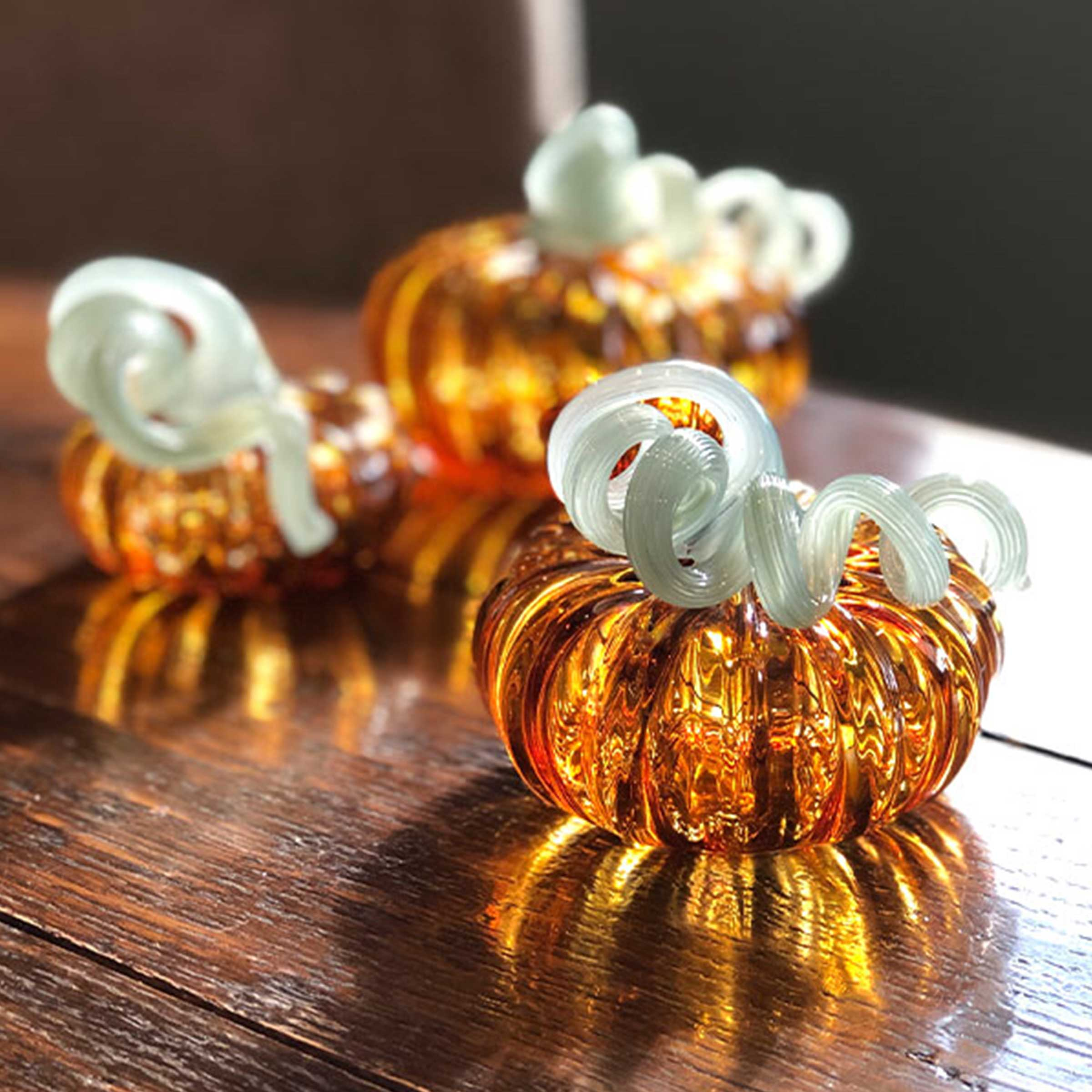 Amber Glass Small Pumpkin
