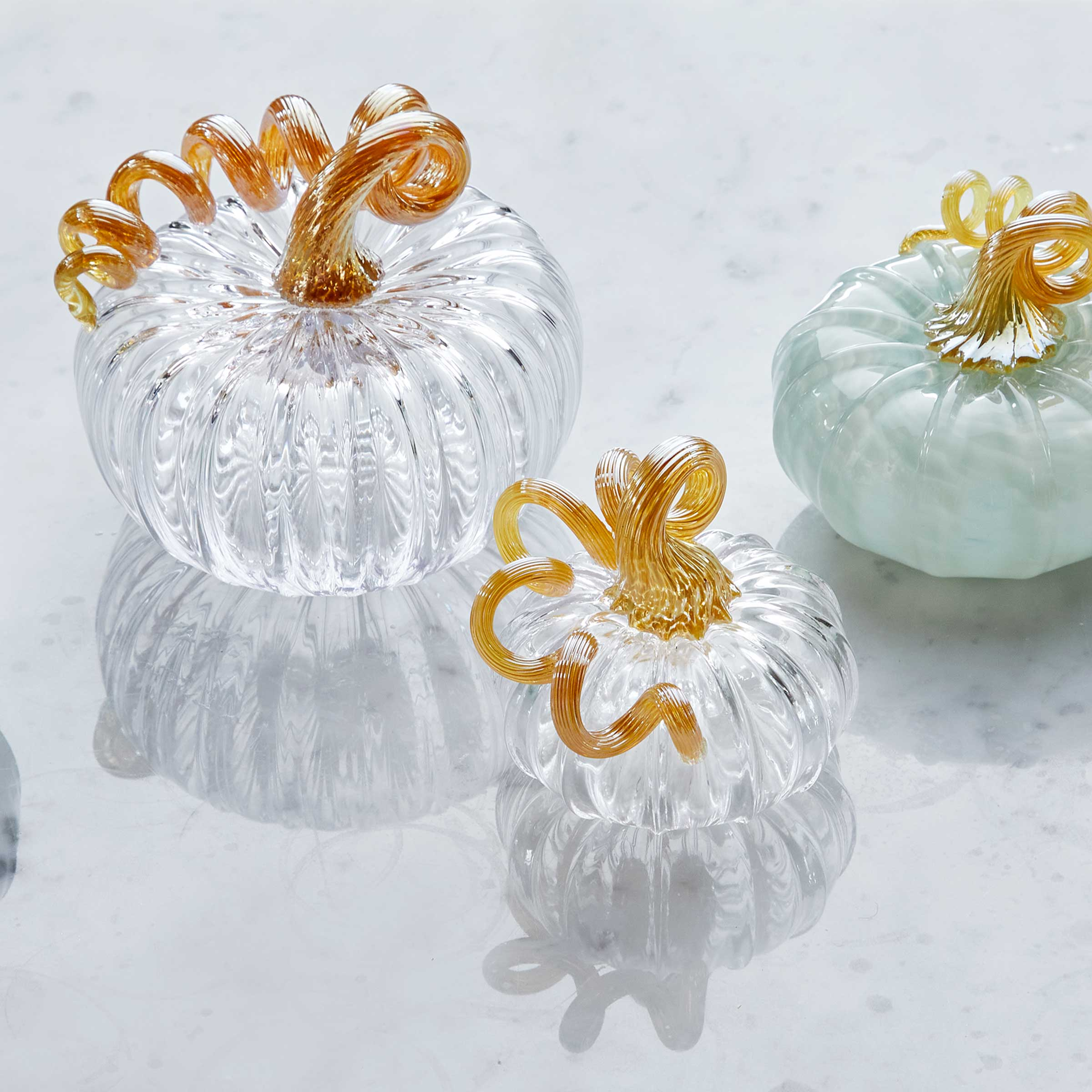 Clear Glass Small Pumpkin