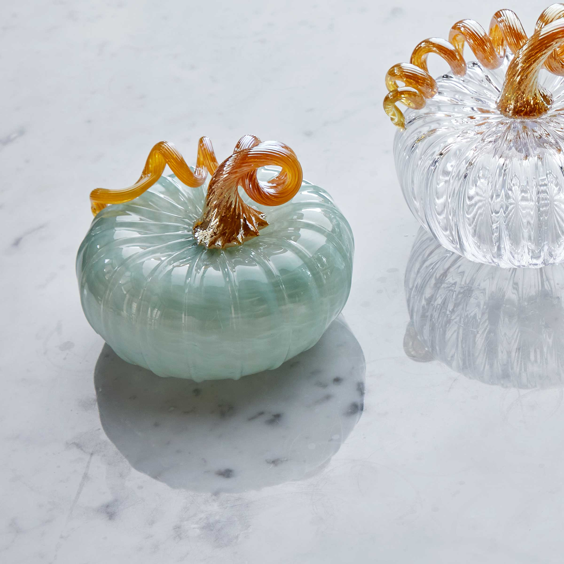 Teal Glass Large Pumpkin
