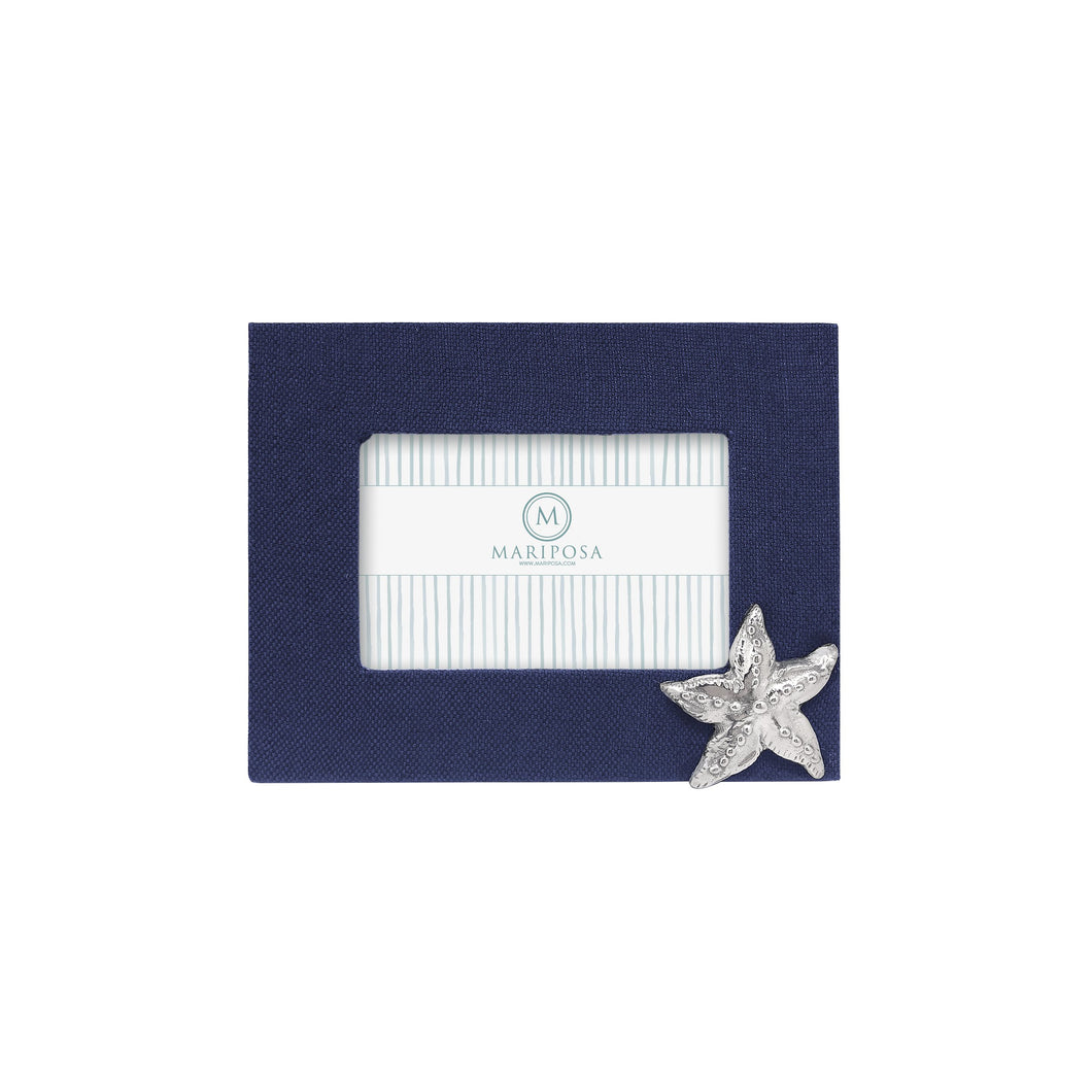 Navy Blue Linen with Starfish Icon 4x6 Frame | Mariposa
