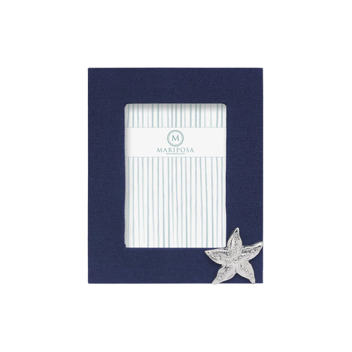 Navy Blue Linen with Starfish Icon 5x7 Frame | Mariposa