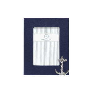 Navy Blue Linen with Anchor Icon Vertical 4x6 Frame | Mariposa